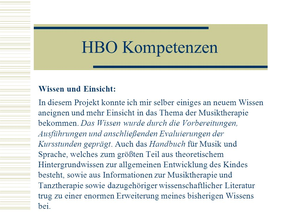 HBO Kompetenzen Wissen und Einsicht: