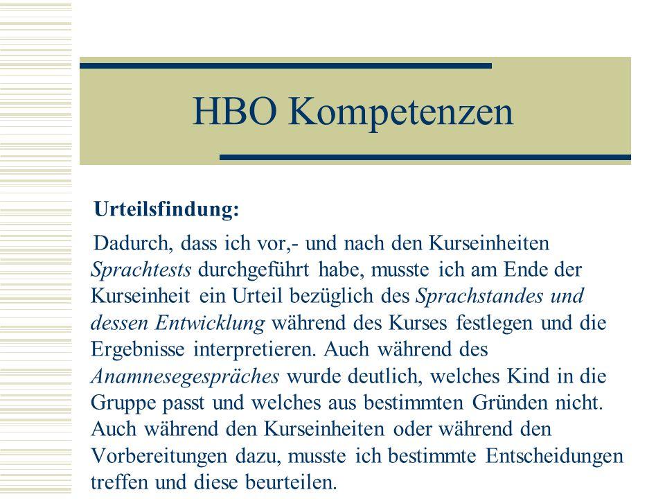HBO Kompetenzen Urteilsfindung: