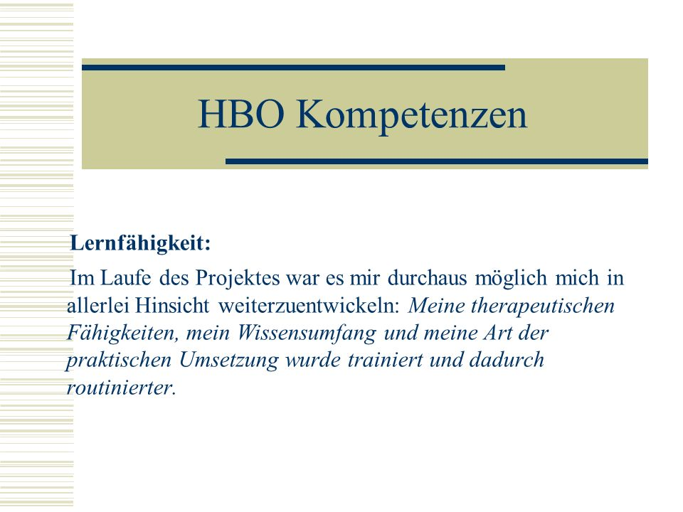 HBO Kompetenzen Lernfähigkeit: