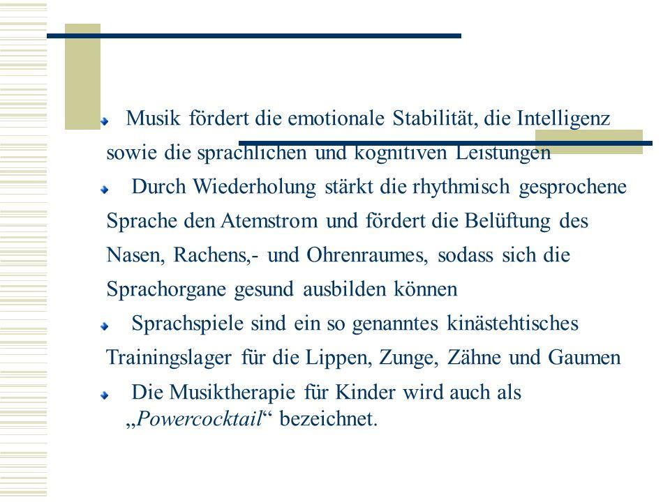 Musik fördert die emotionale Stabilität, die Intelligenz