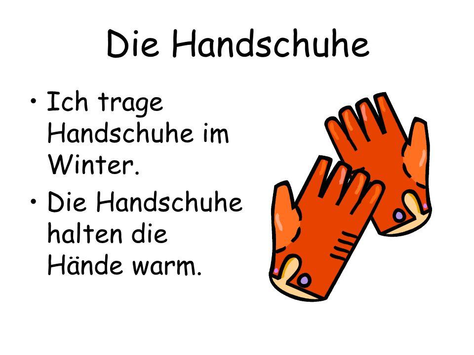 Die Handschuhe Ich trage Handschuhe im Winter.