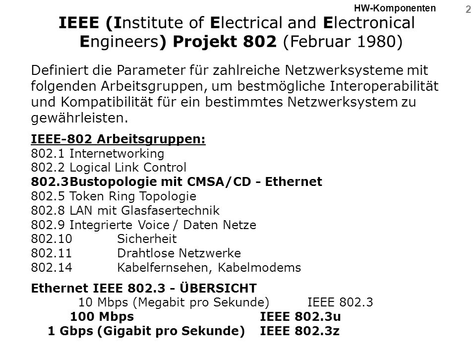 HW-Komponenten IEEE (Institute of Electrical and Electronical Engineers) Projekt 802 (Februar 1980)