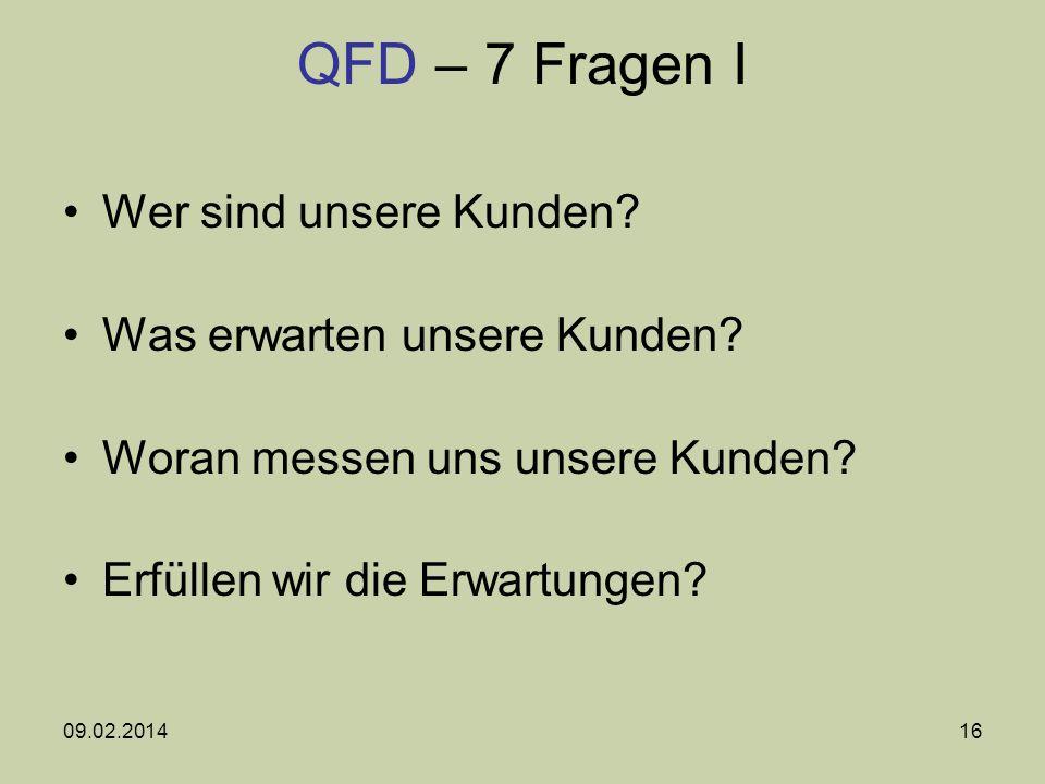 QFD – 7 Fragen I Wer sind unsere Kunden Was erwarten unsere Kunden