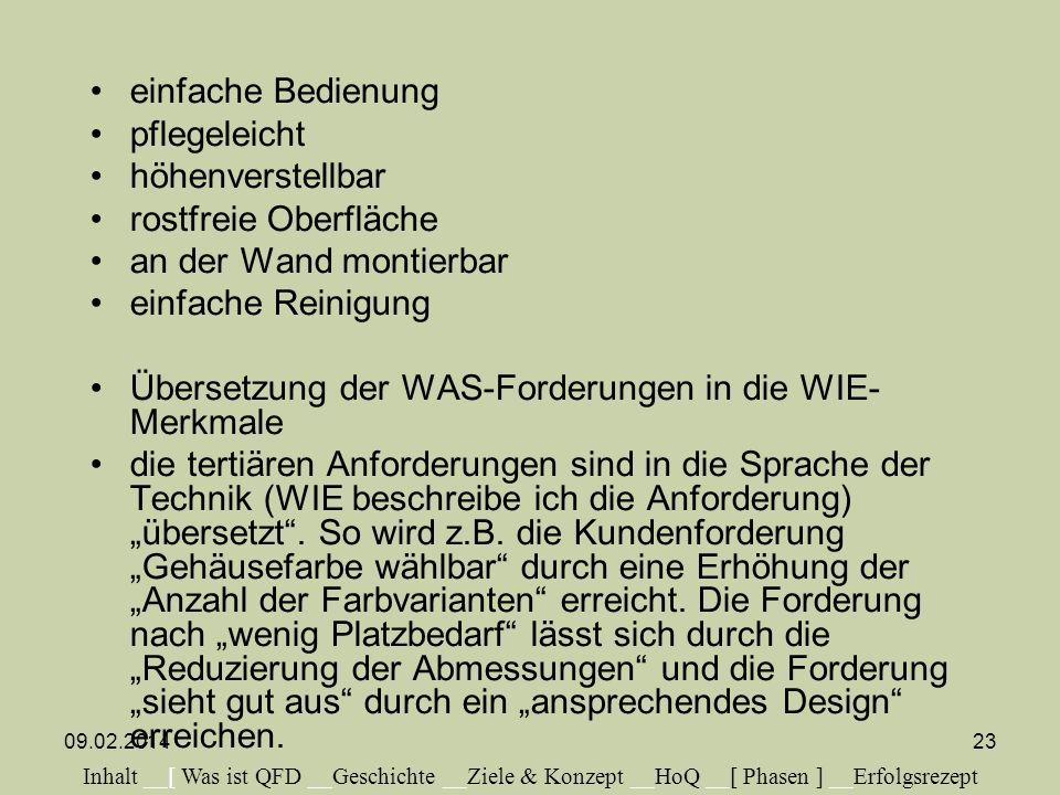 Übersetzung der WAS-Forderungen in die WIE-Merkmale