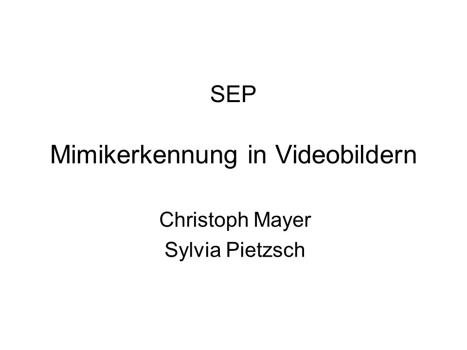 SEP Mimikerkennung in Videobildern