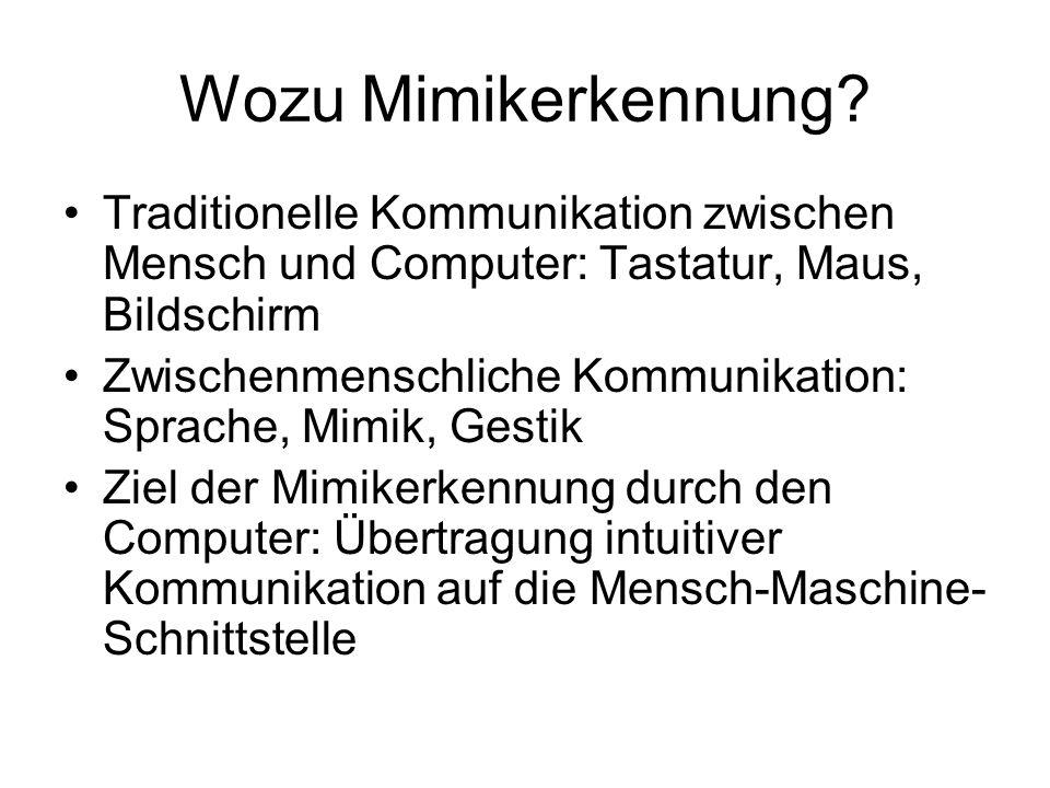 Wozu Mimikerkennung Traditionelle Kommunikation zwischen Mensch und Computer: Tastatur, Maus, Bildschirm.
