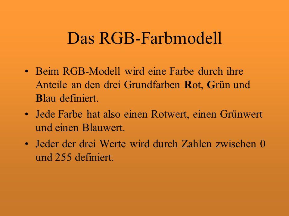Das RGB-Farbmodell Beim RGB-Modell wird eine Farbe durch ihre Anteile an den drei Grundfarben Rot, Grün und Blau definiert.