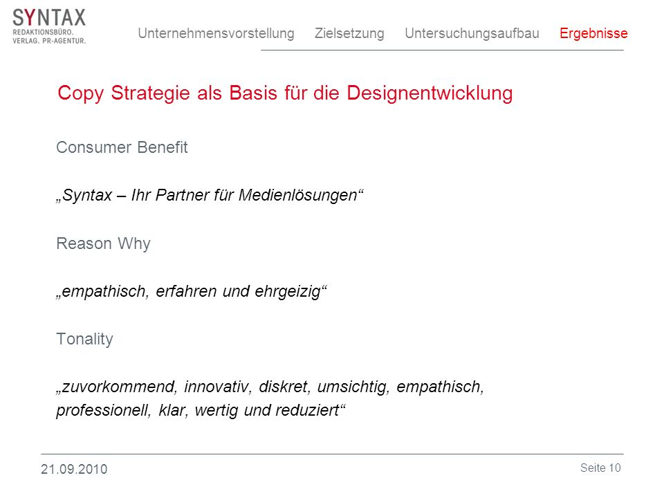 Copy Strategie als Basis für die Designentwicklung