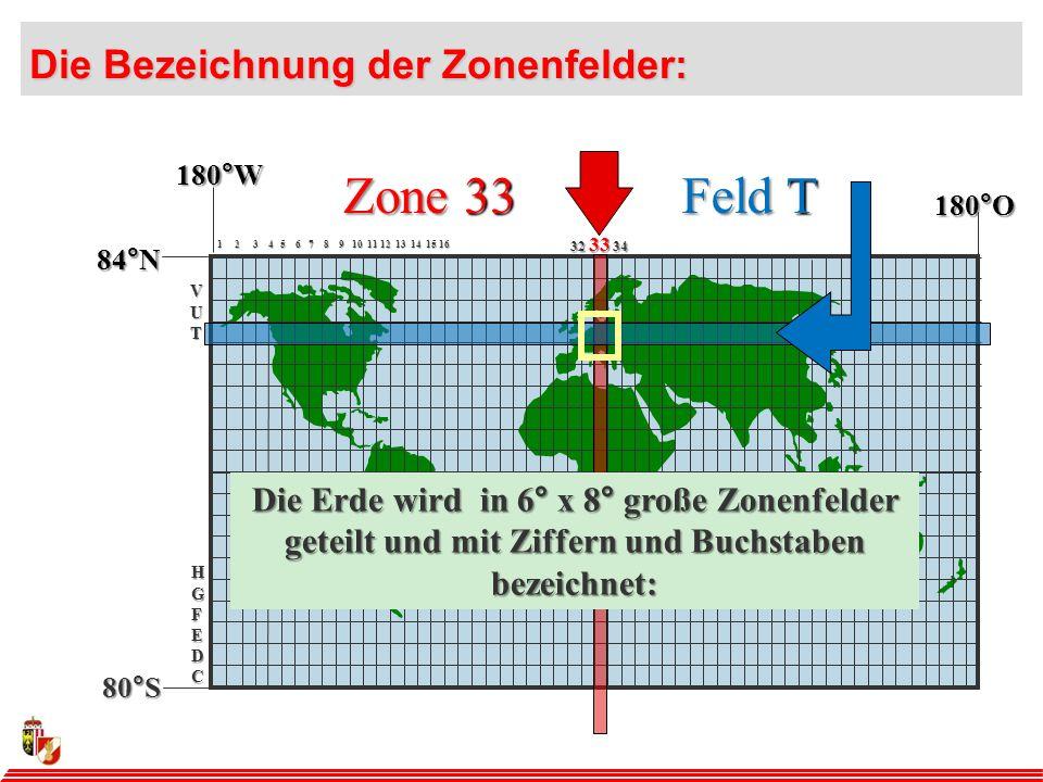 Zone 33 Feld T Die Bezeichnung der Zonenfelder: