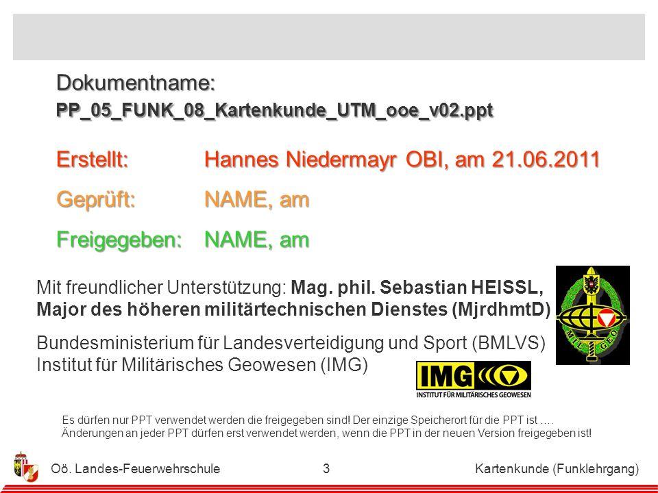 Dokumentname: PP_05_FUNK_08_Kartenkunde_UTM_ooe_v02.ppt