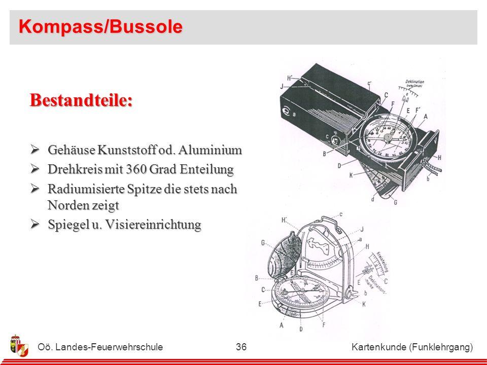 Kompass/Bussole Bestandteile: Gehäuse Kunststoff od. Aluminium