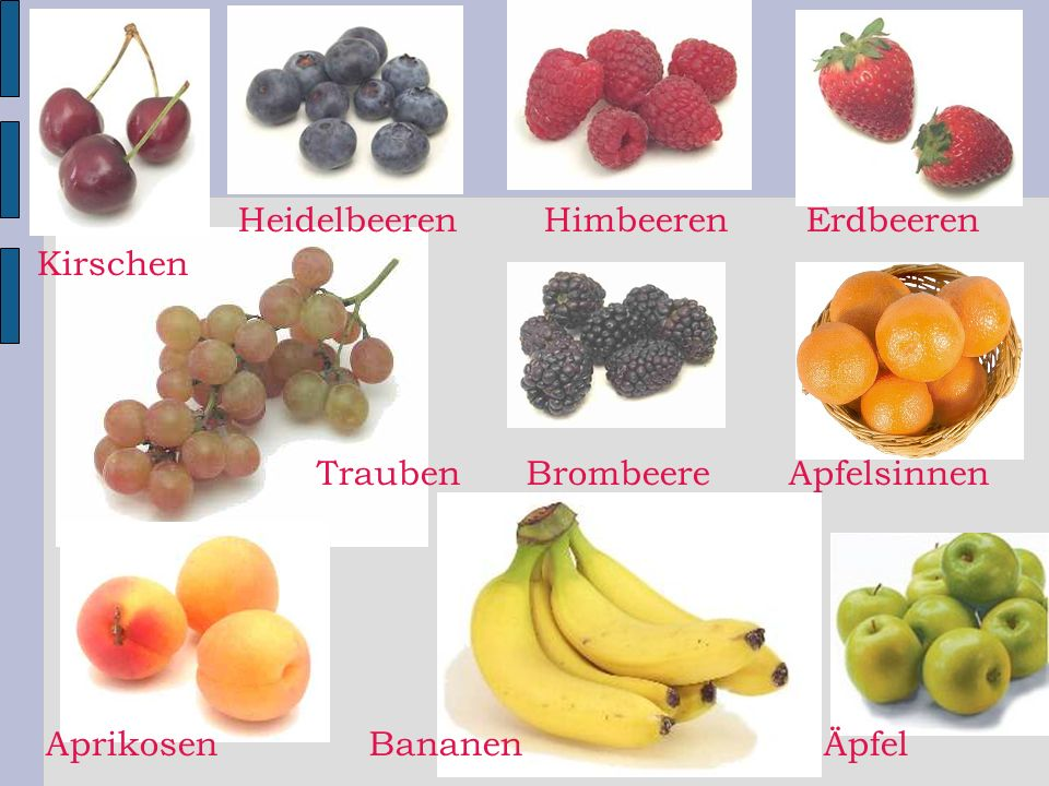 Heidelbeeren Himbeeren Erdbeeren Kirschen Trauben Brombeere