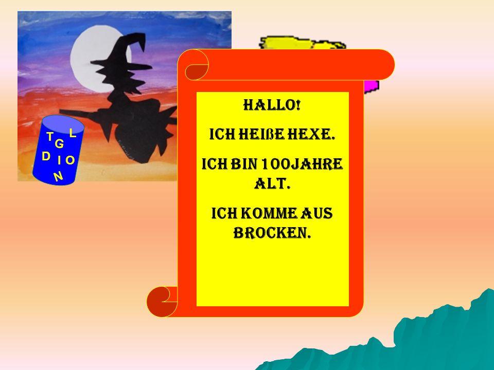 Hallo! Ich heiße Hexe. Ich bin 100Jahre alt. Ich komme aus Brocken.