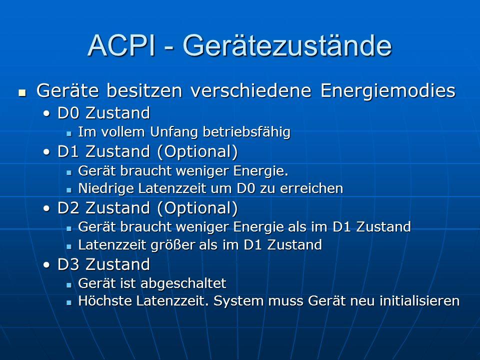 ACPI - Gerätezustände Geräte besitzen verschiedene Energiemodies