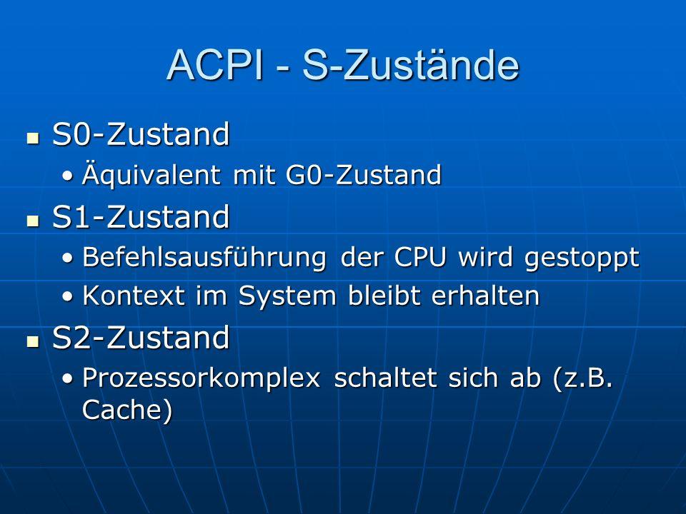 ACPI - S-Zustände S0-Zustand S1-Zustand S2-Zustand