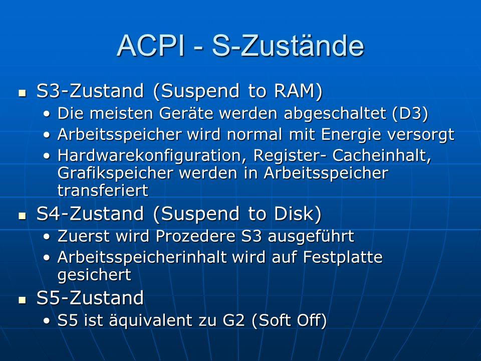 ACPI - S-Zustände S3-Zustand (Suspend to RAM)