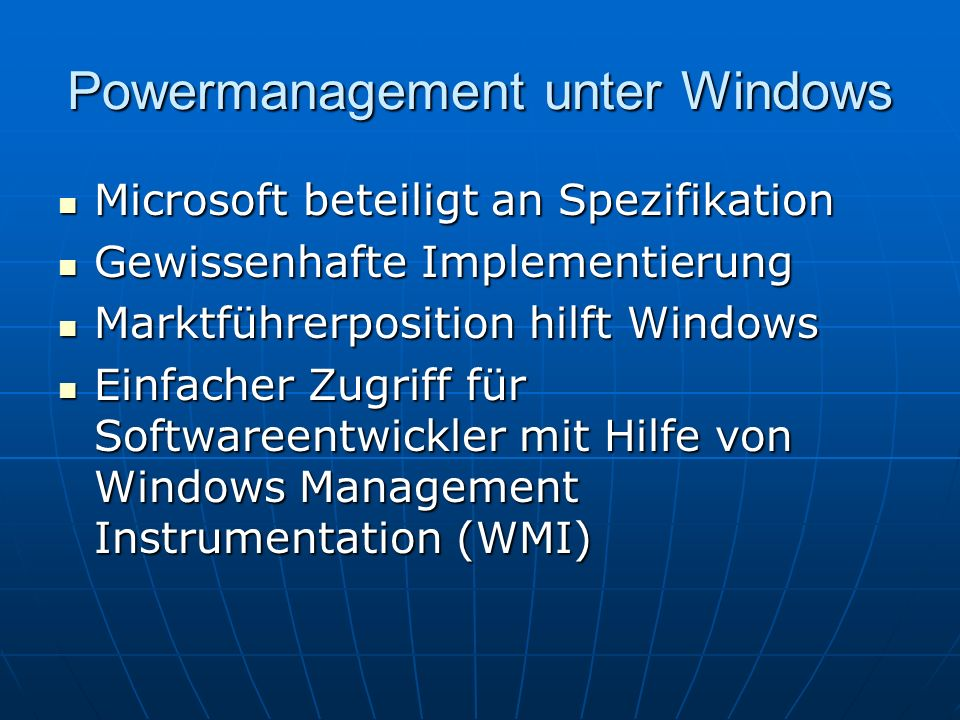 Powermanagement unter Windows