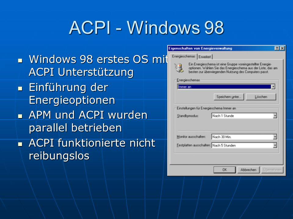 ACPI - Windows 98 Windows 98 erstes OS mit ACPI Unterstützung