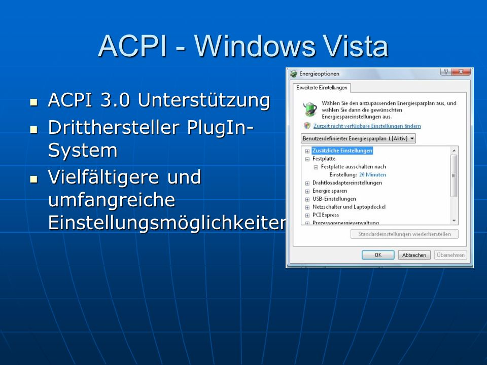 ACPI - Windows Vista ACPI 3.0 Unterstützung