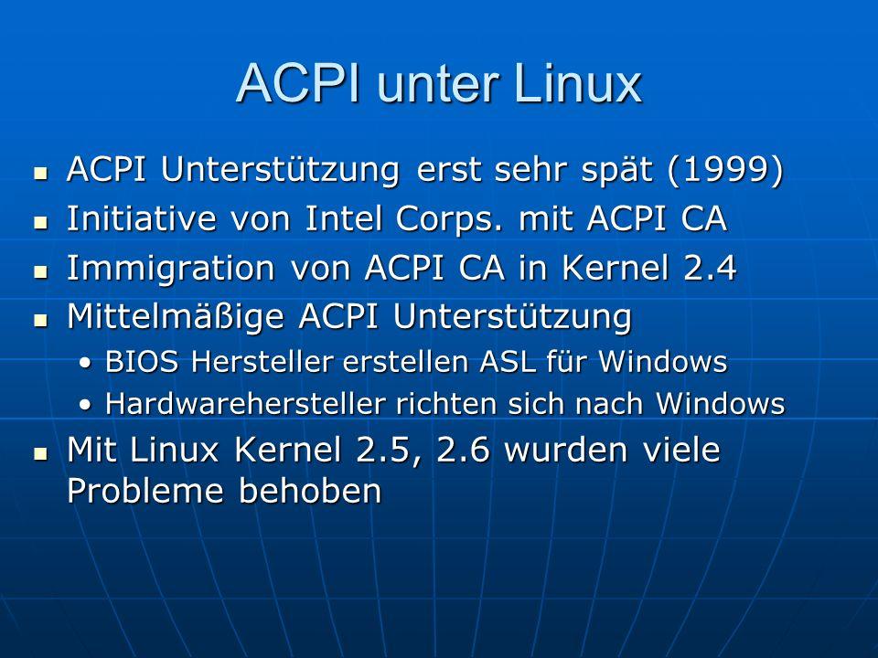 ACPI unter Linux ACPI Unterstützung erst sehr spät (1999)