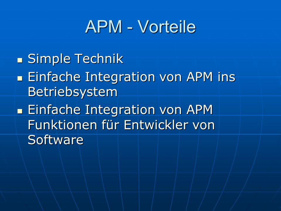 APM - Vorteile Simple Technik