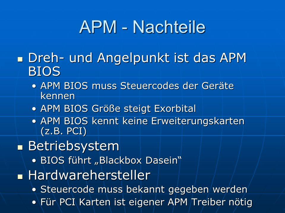 APM - Nachteile Dreh- und Angelpunkt ist das APM BIOS Betriebsystem