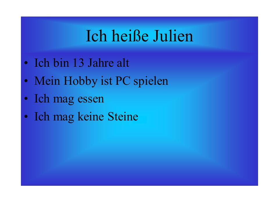 Ich heiße Julien Ich bin 13 Jahre alt Mein Hobby ist PC spielen