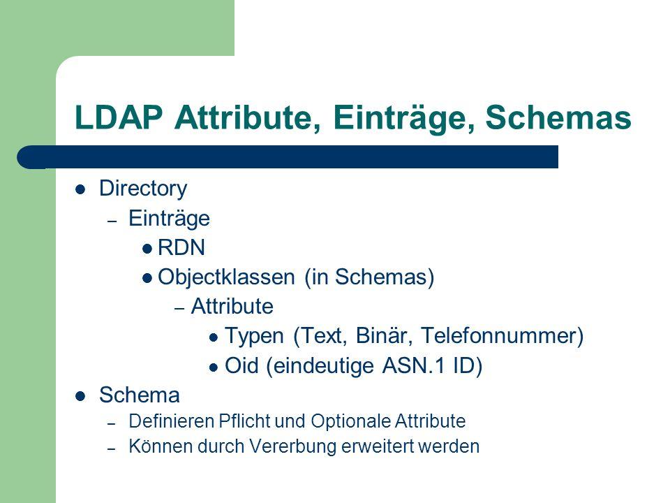 LDAP Attribute, Einträge, Schemas