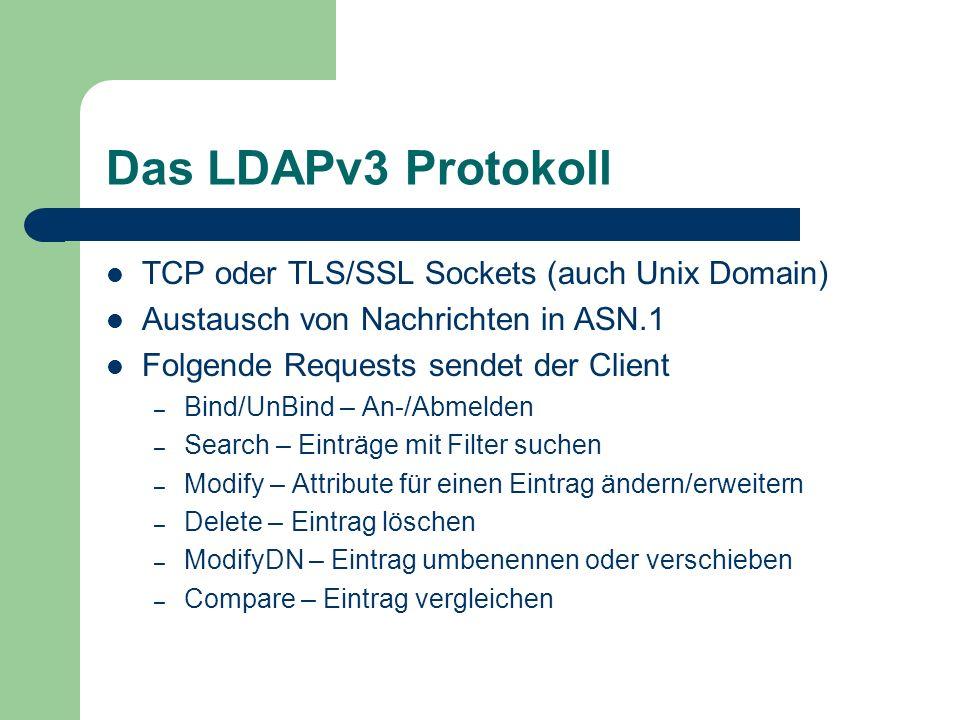Das LDAPv3 Protokoll TCP oder TLS/SSL Sockets (auch Unix Domain)