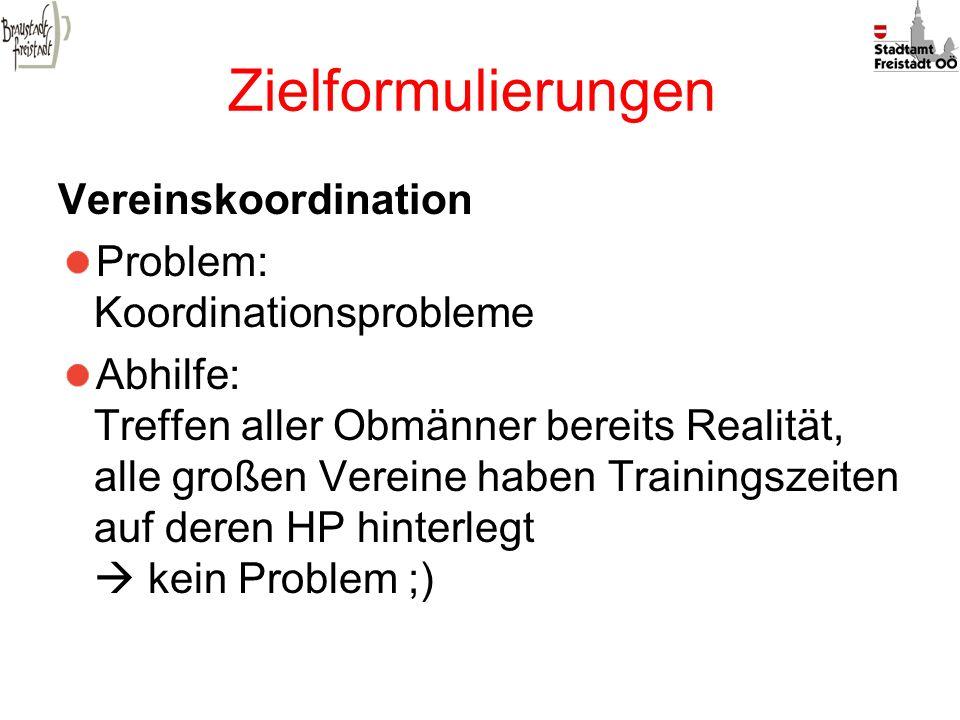 Zielformulierungen Vereinskoordination Problem: Koordinationsprobleme