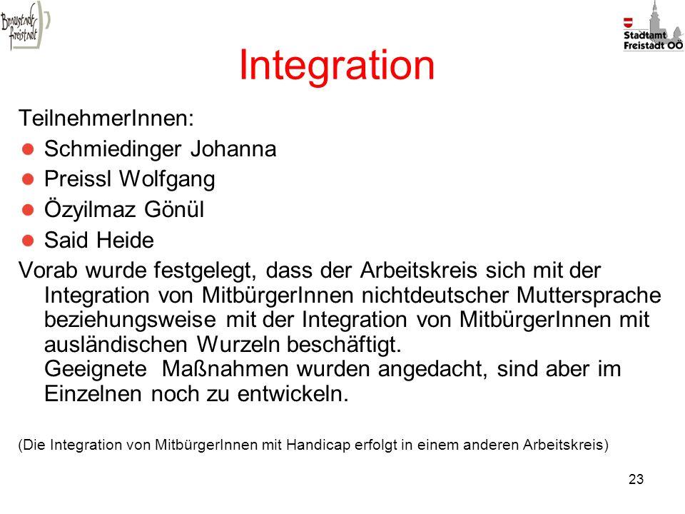 Integration TeilnehmerInnen: Schmiedinger Johanna Preissl Wolfgang