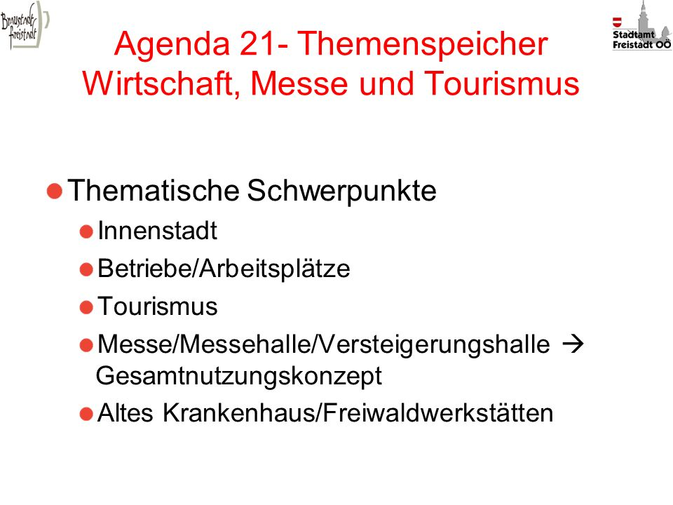 Agenda 21- Themenspeicher Wirtschaft, Messe und Tourismus