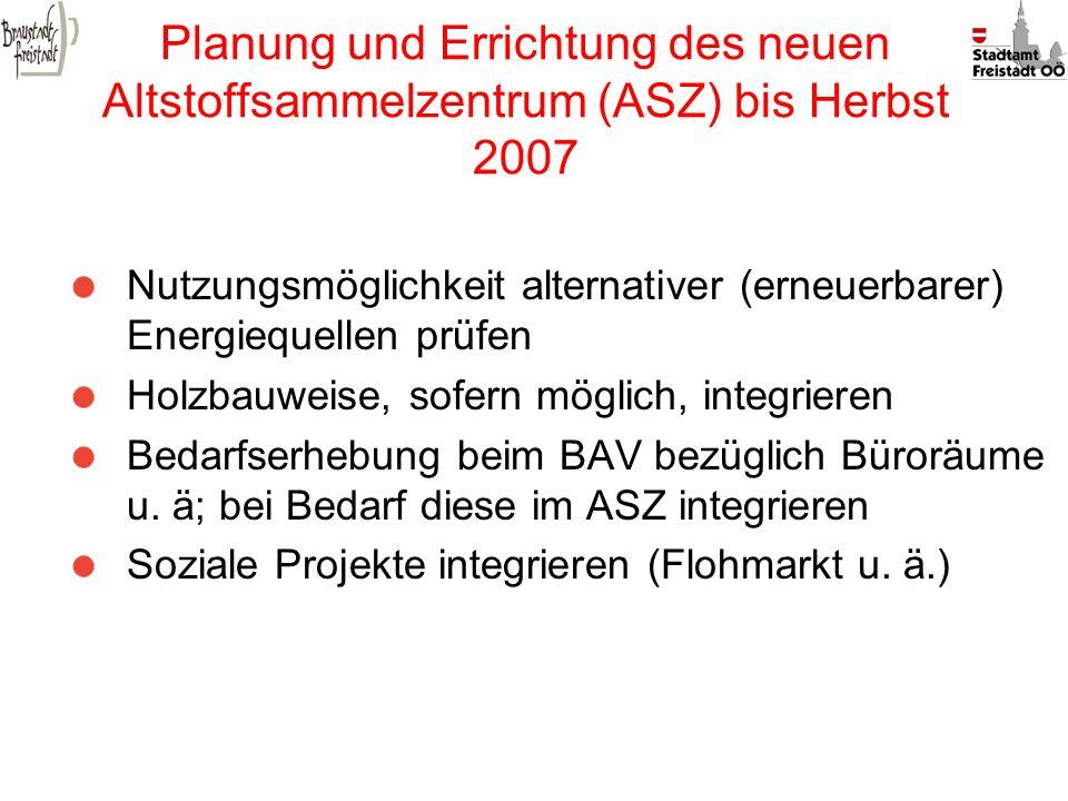 Planung und Errichtung des neuen Altstoffsammelzentrum (ASZ) bis Herbst 2007
