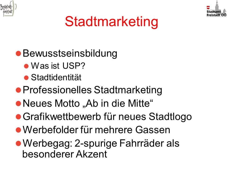 Stadtmarketing Bewusstseinsbildung Professionelles Stadtmarketing