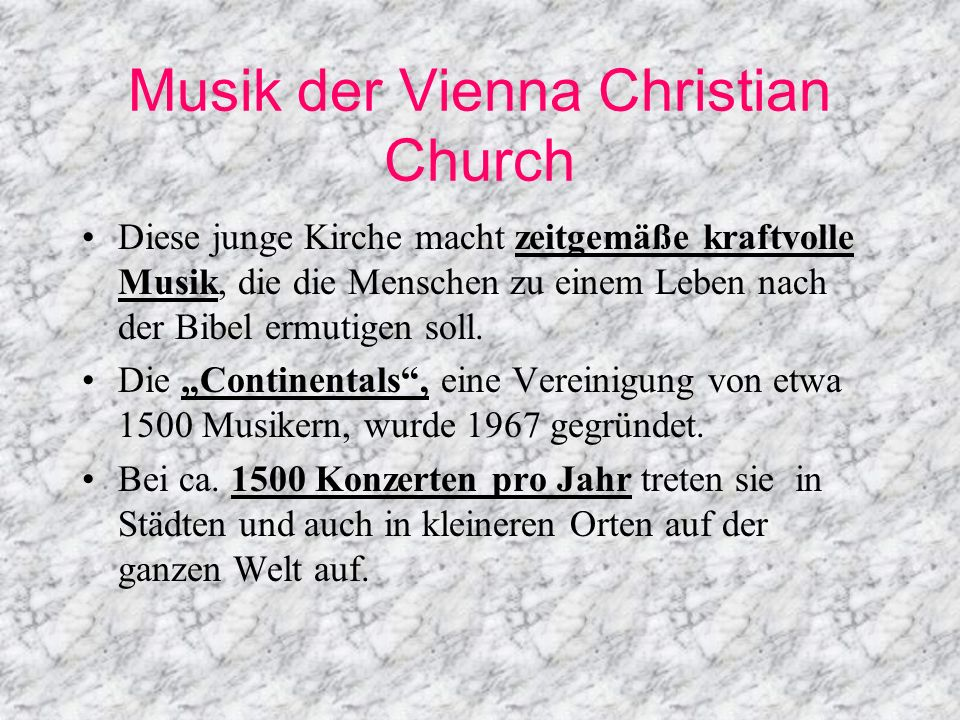 Musik der Vienna Christian Church