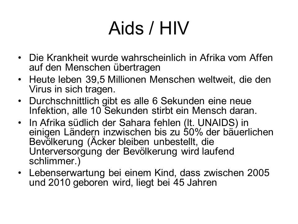 Aids / HIV Die Krankheit wurde wahrscheinlich in Afrika vom Affen auf den Menschen übertragen.