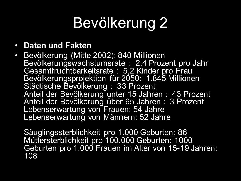 Bevölkerung 2 Daten und Fakten