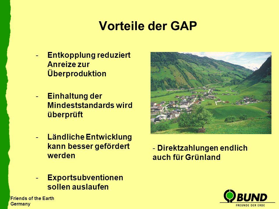 Vorteile der GAP Entkopplung reduziert Anreize zur Überproduktion