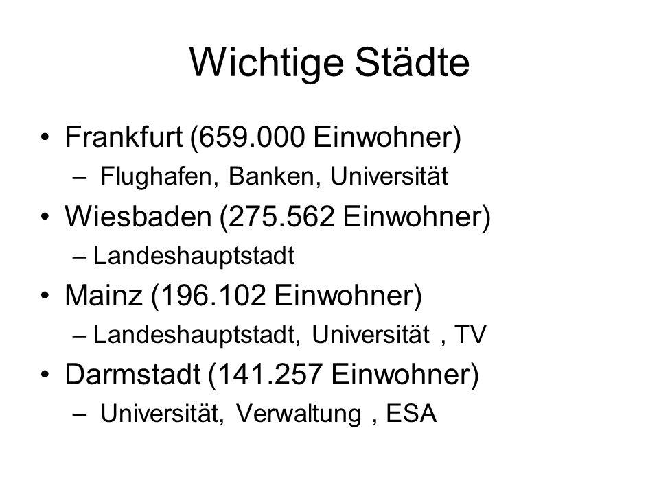 Wichtige Städte Frankfurt (659.000 Einwohner)