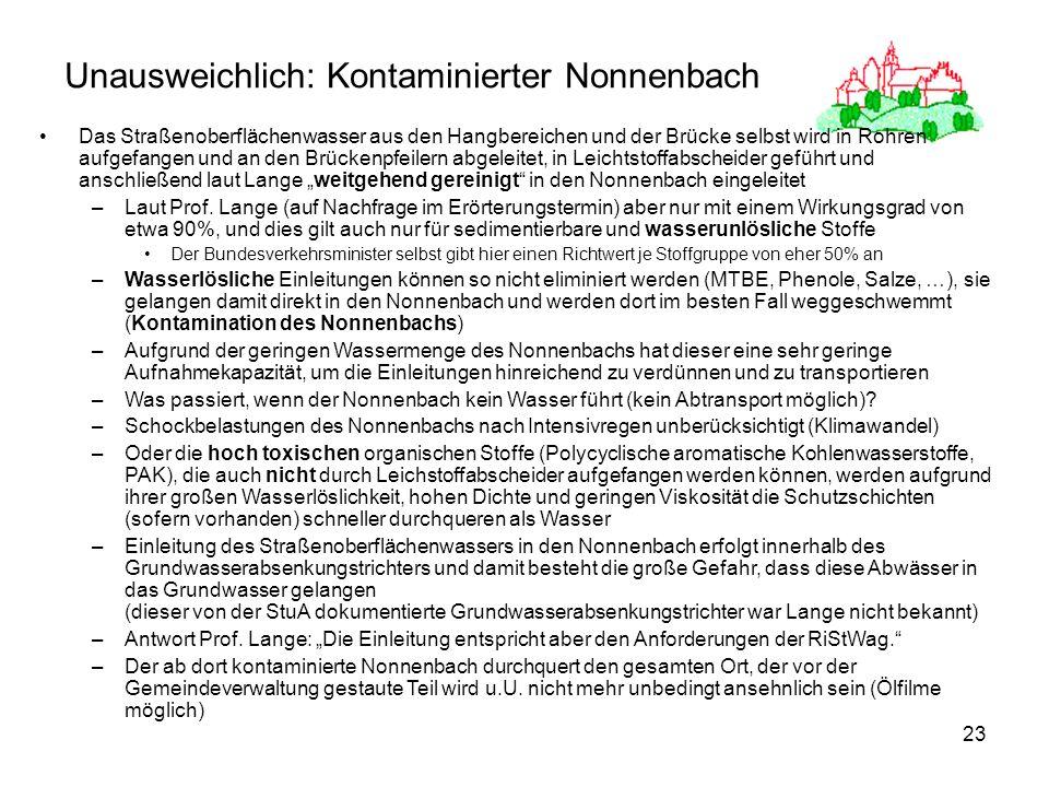 Unausweichlich: Kontaminierter Nonnenbach