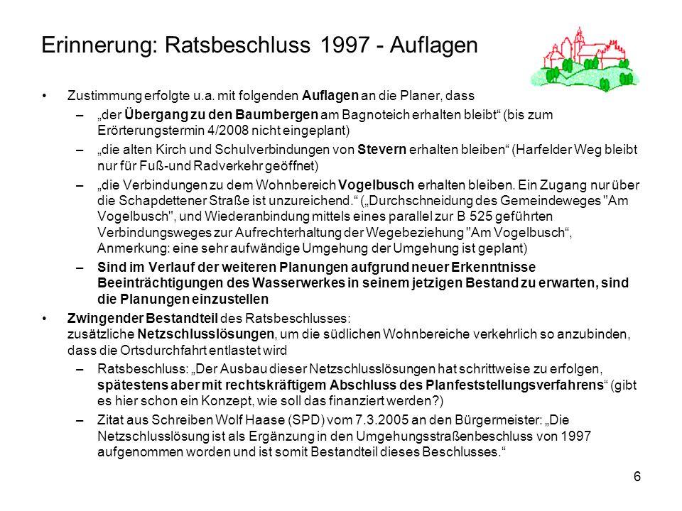 Erinnerung: Ratsbeschluss 1997 - Auflagen
