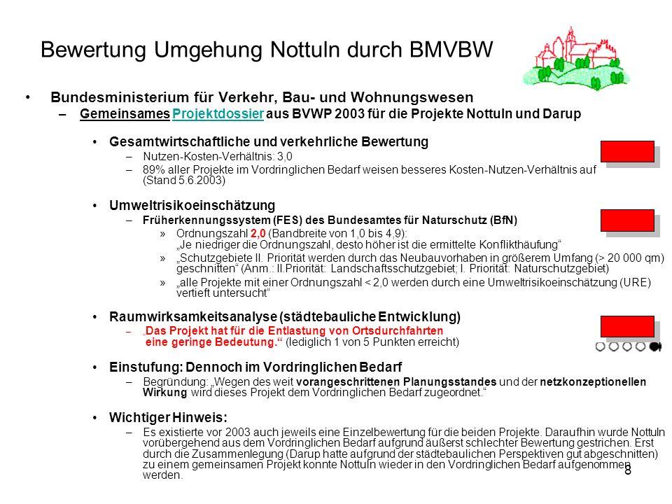 Bewertung Umgehung Nottuln durch BMVBW