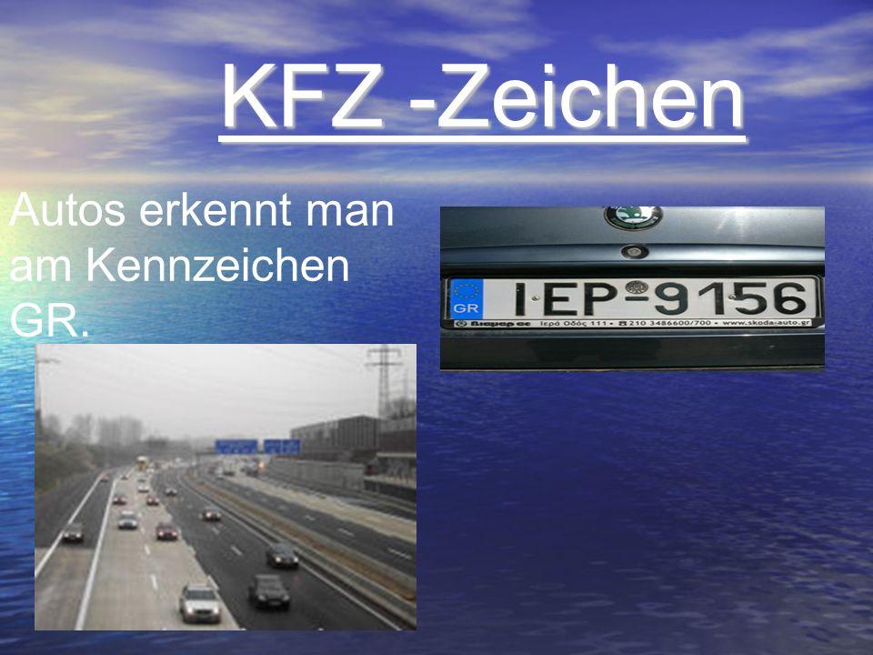 KFZ -Zeichen Autos erkennt man am Kennzeichen GR.