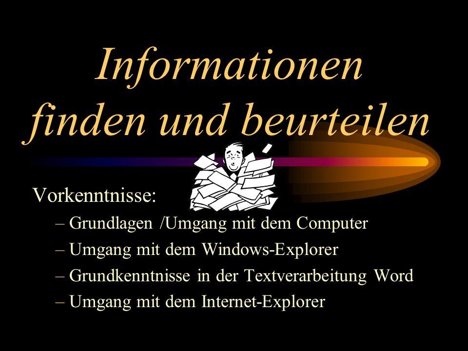 Informationen finden und beurteilen