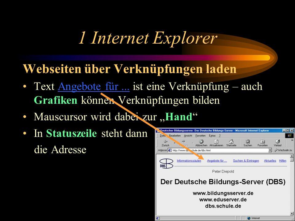 1 Internet Explorer Webseiten über Verknüpfungen laden
