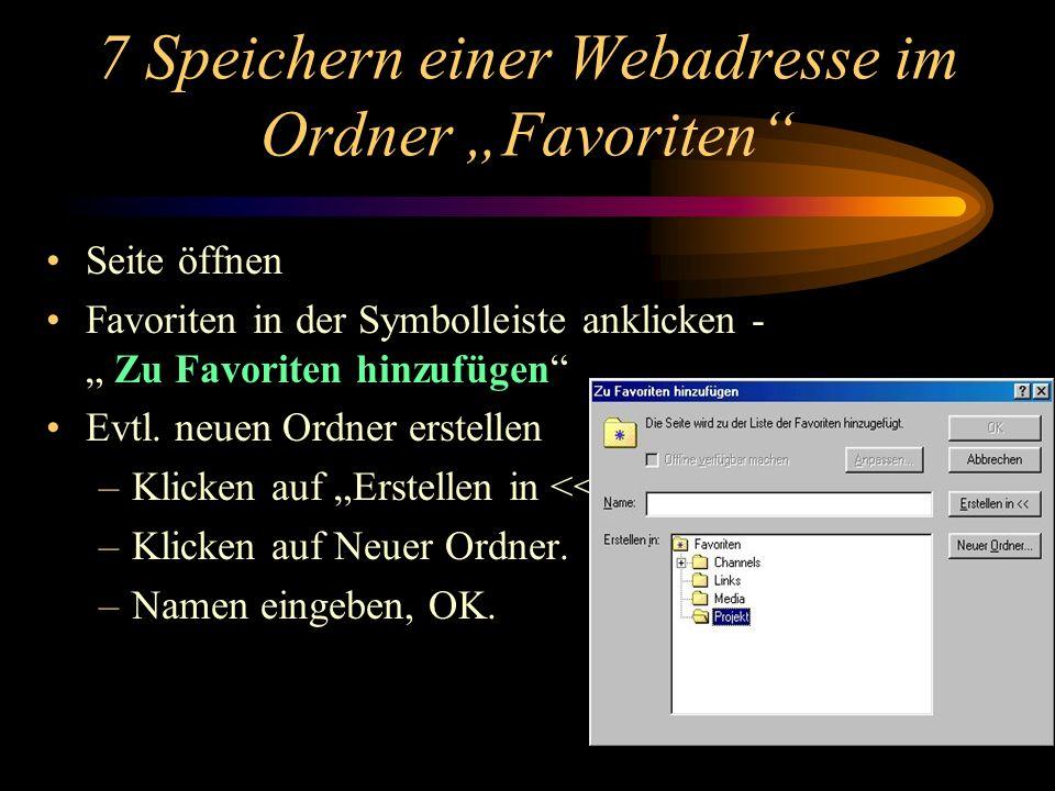"""7 Speichern einer Webadresse im Ordner """"Favoriten"""