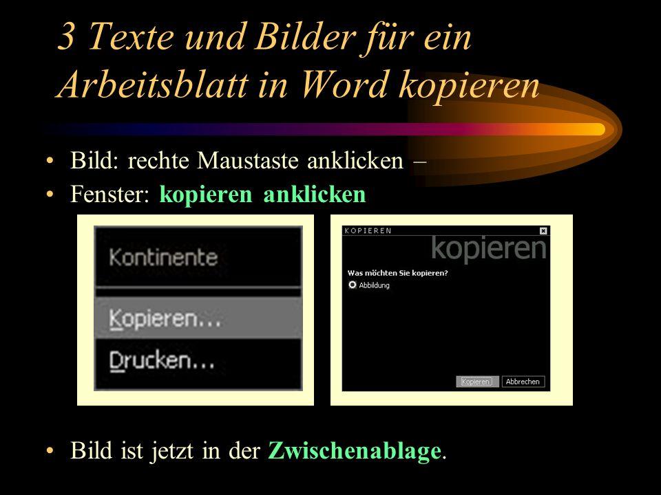 3 Texte und Bilder für ein Arbeitsblatt in Word kopieren
