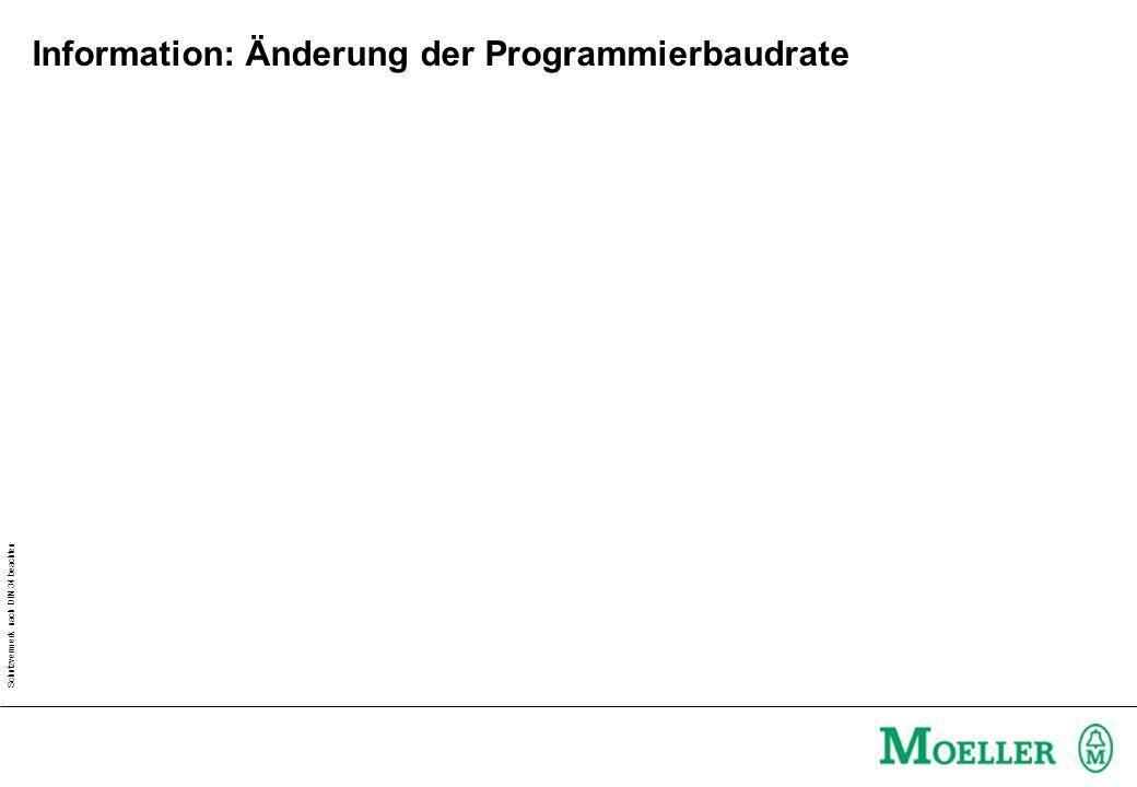 Information: Änderung der Programmierbaudrate