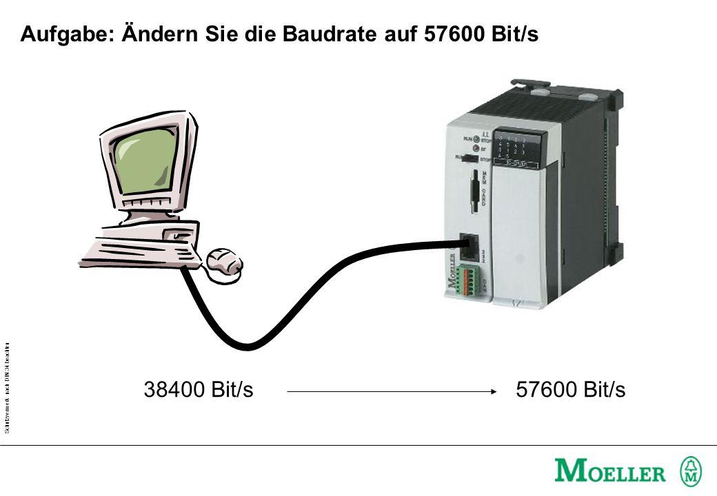 Aufgabe: Ändern Sie die Baudrate auf 57600 Bit/s