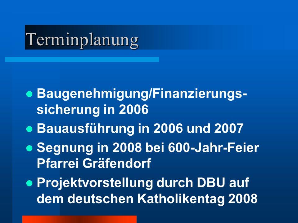 Terminplanung Baugenehmigung/Finanzierungs- sicherung in 2006